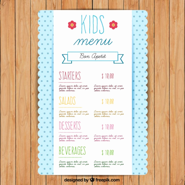 Free Kids Menu Template Unique Cute Kids Menu Template with Dots Vector