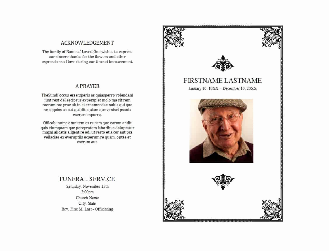 Free Memorial Program Template Beautiful 12 Free Funeral Program Templates Word Excel formats