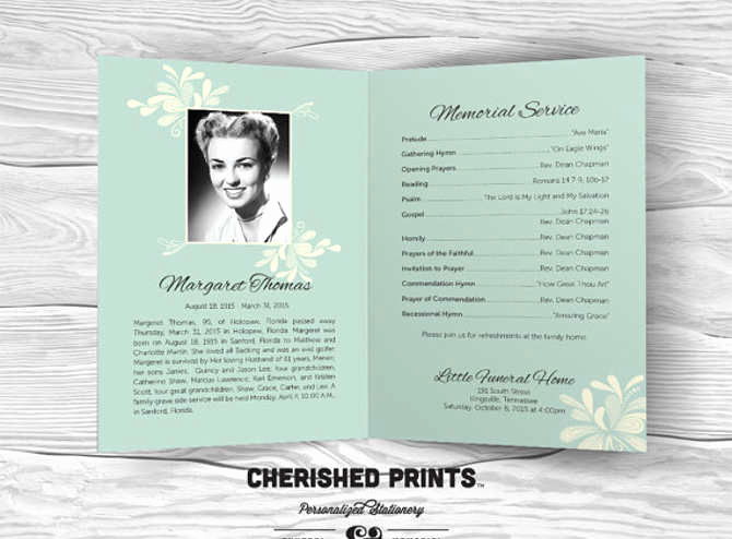 Free Memorial Program Template Download Beautiful Free Editable Funeral Program Template