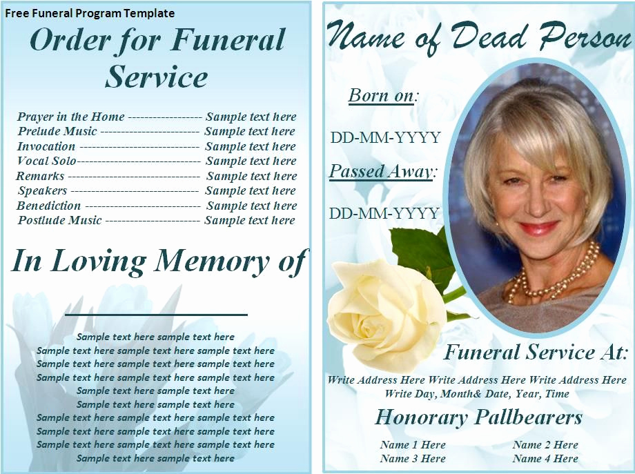Free Memorial Program Template Download Fresh Free Funeral Program Templates