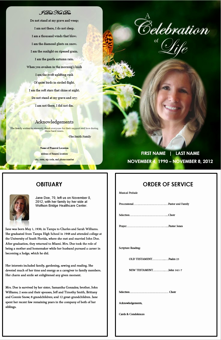 Free Memorial Program Template Download Inspirational the Funeral Memorial Program Blog Free Funeral Program