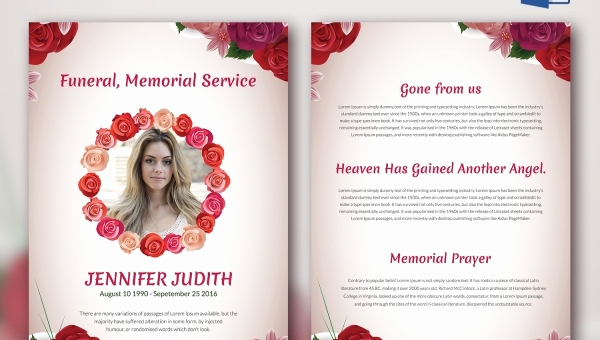 Free Memorial Program Template Download Lovely 6 Funeral Memorial Program Templates Word Psd format
