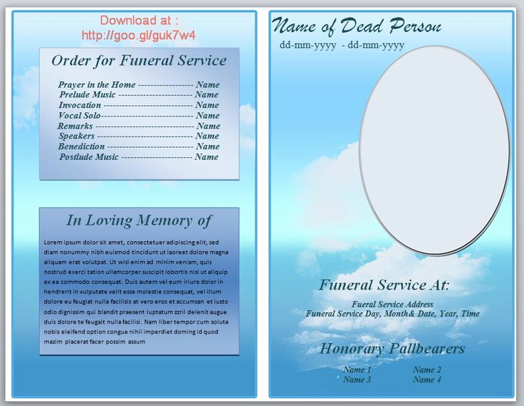 Free Memorial Program Template Download Lovely Free Funeral Pamphlet Template