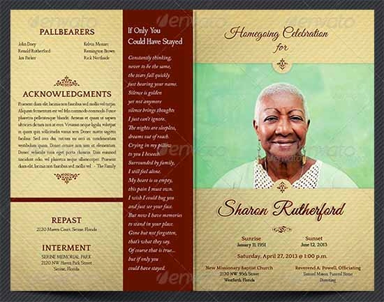 Free Memorial Program Template Download Unique Free 38 Sample Funeral Programs Templates In Pdf