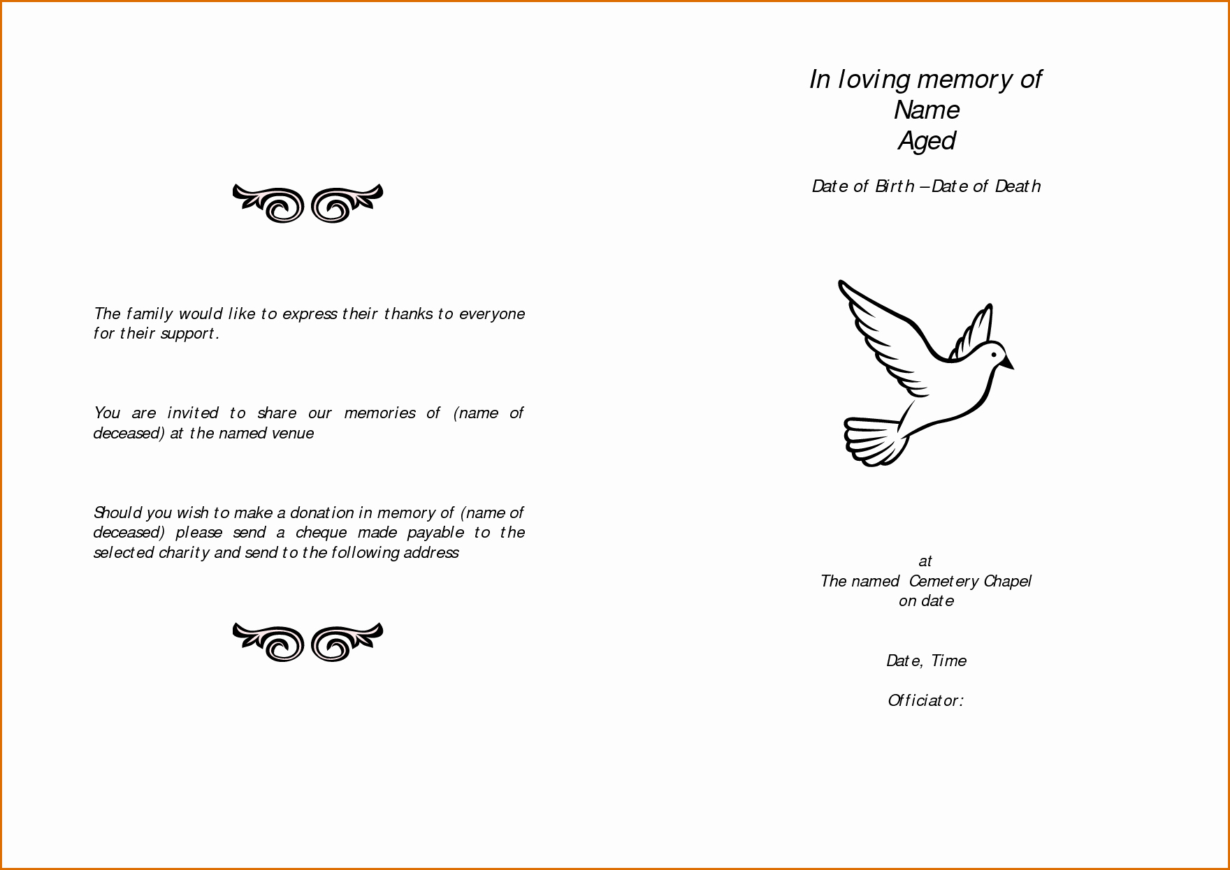 Free Memorial Program Template Elegant 11 Free Funeral Program Templates