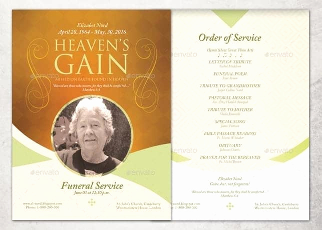 Free Memorial Program Template Lovely 21 Free Free Funeral Program Template Word Excel formats