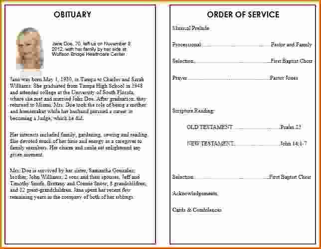 Free Memorial Program Template Lovely 8 Free Funeral Program Template Microsoft Word
