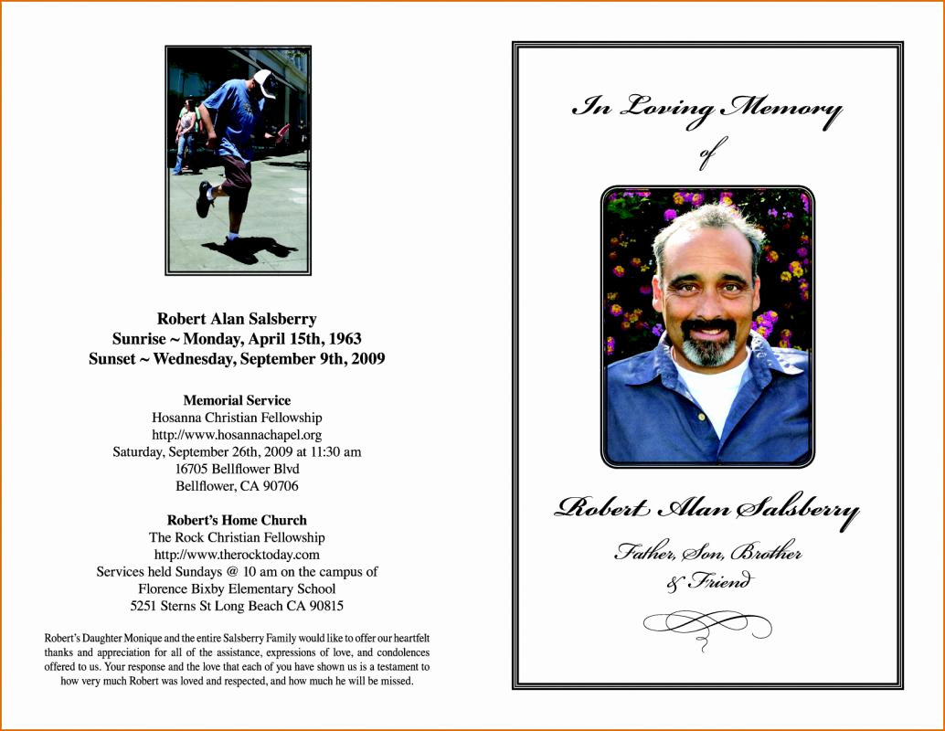 Free Memorial Program Template Lovely Funeral order Service Template