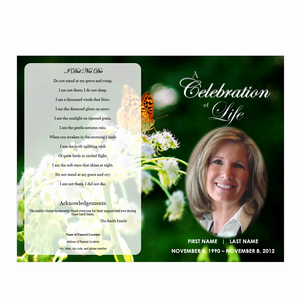 Free Memorial Program Template Luxury butterfly Memorial Program