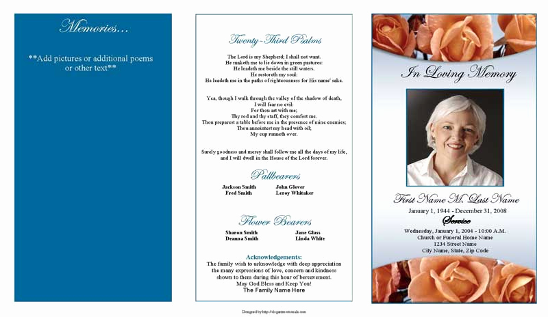 Free Memorial Program Template Luxury Memorial Roses Trifold Funeral Program Template Elegant