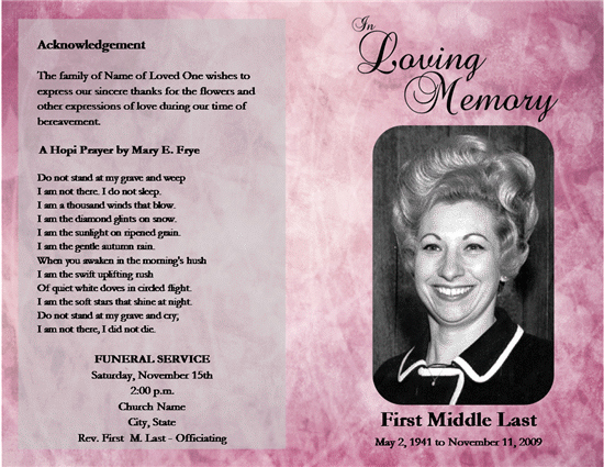 Free Memorial Program Template New Free Funeral Program Templates