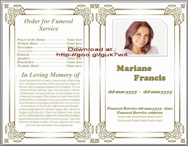 Free Memorial Program Template New Traditional Free Obituary Template for Funeral In