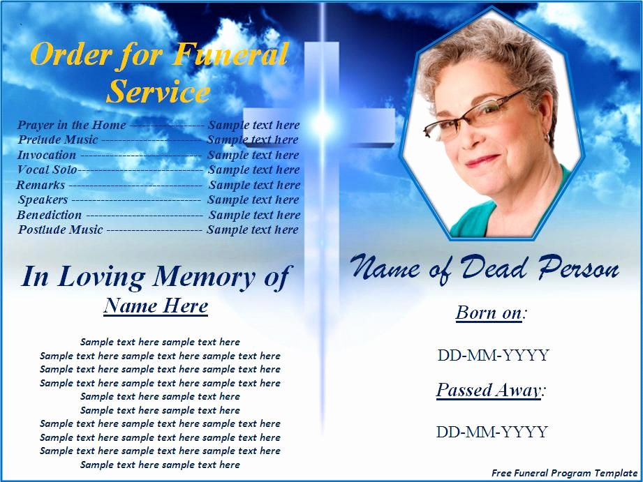 Free Memorial Program Template Unique Free Funeral Program Templates