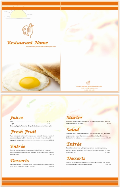 Free Menu Template Microsoft Word Awesome 11 Free Sample Breakfast Menu Templates Printable Samples