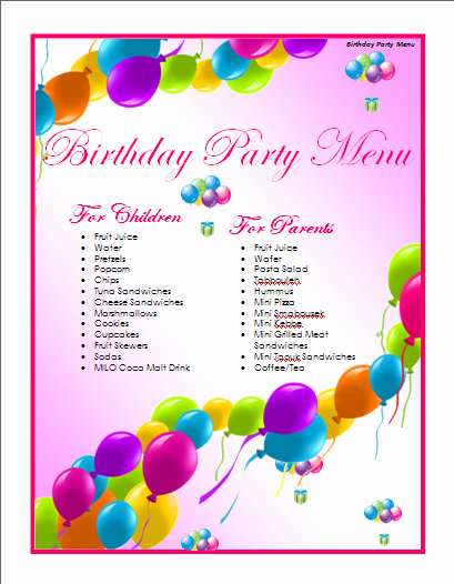 Free Menu Template Microsoft Word Awesome Birthday Menu Template Microsoft Word Templates