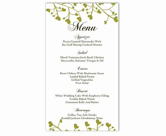 Free Menu Template Microsoft Word Best Of Wedding Menu Template Diy Menu Card Template Editable Text