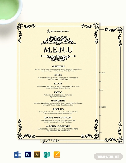 Free Menu Template Microsoft Word Inspirational Classy Classic Dinner Menu Template Word Psd