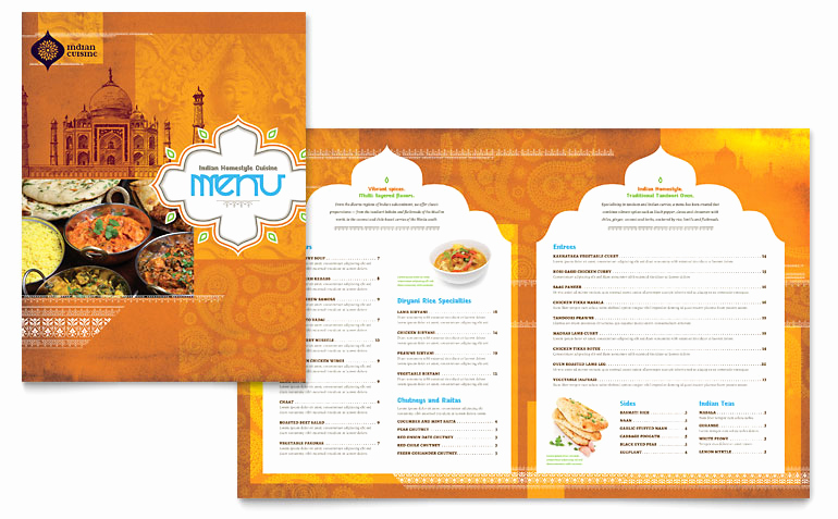 Free Menu Template Microsoft Word Luxury Indian Restaurant Menu Template Word & Publisher
