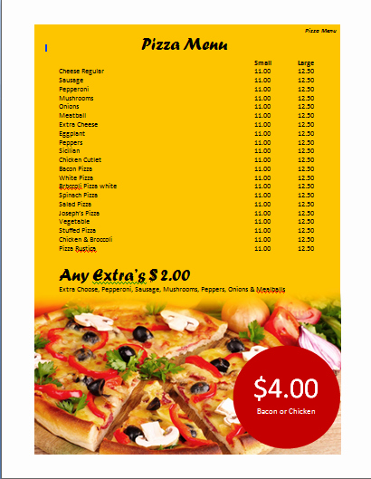 Free Menu Template Microsoft Word Luxury Pizza Menu Template Microsoft Word Templates