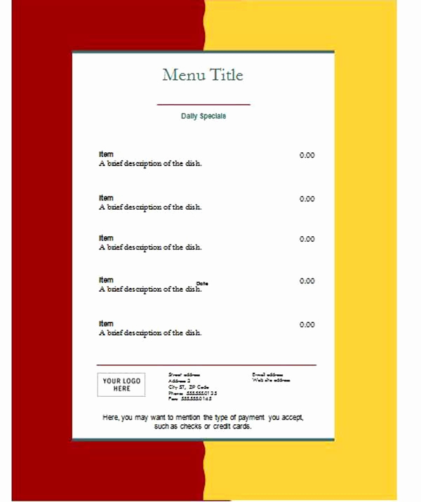 Free Menu Template Microsoft Word New Free Restaurant Menu Templates Microsoft Word Templates