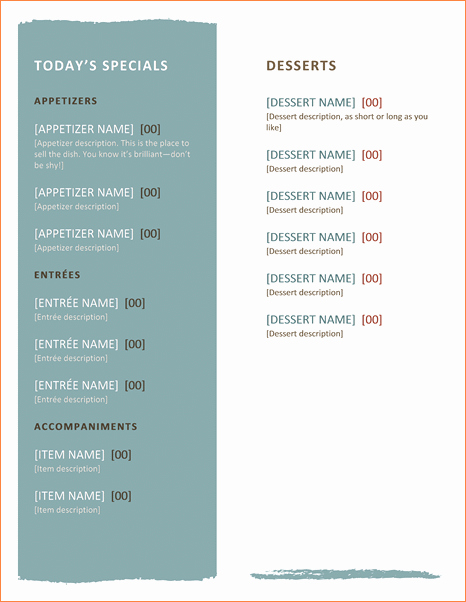 Free Menu Template Word Awesome Free Restaurant Menu Templates for Word