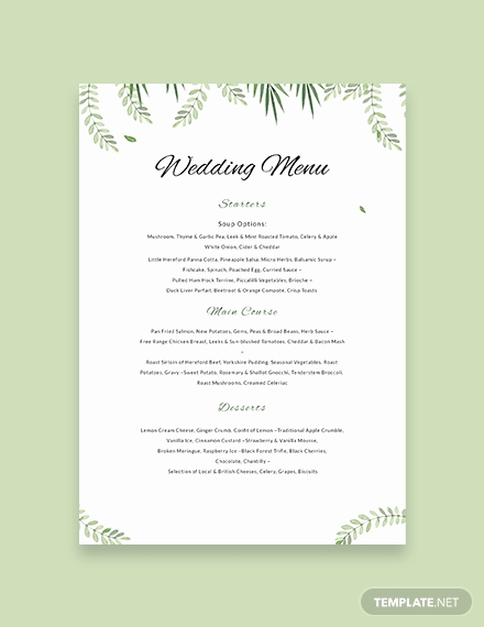 Free Menu Template Word Best Of Free Sample Wedding Menu Template Download 143 Menus In