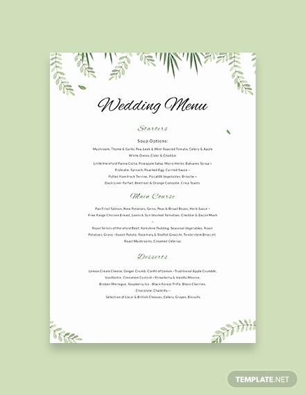 Free Menu Template Word Best Of Free Sample Wedding Menu Template Download 143 Menus In