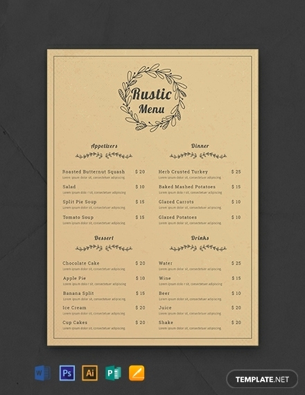 Free Menu Template Word Elegant 10 Rustic Menu Templates Ms Word Shop Indesign