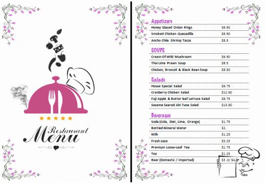 Free Menu Template Word Inspirational 21 Free Free Restaurant Menu Templates Word Excel formats