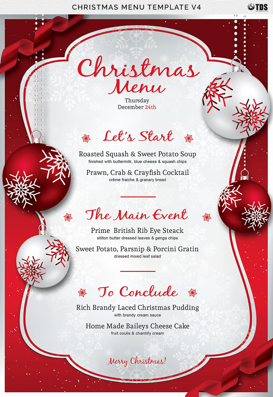 Free Menu Template Word Inspirational Christmas Menu Template V4