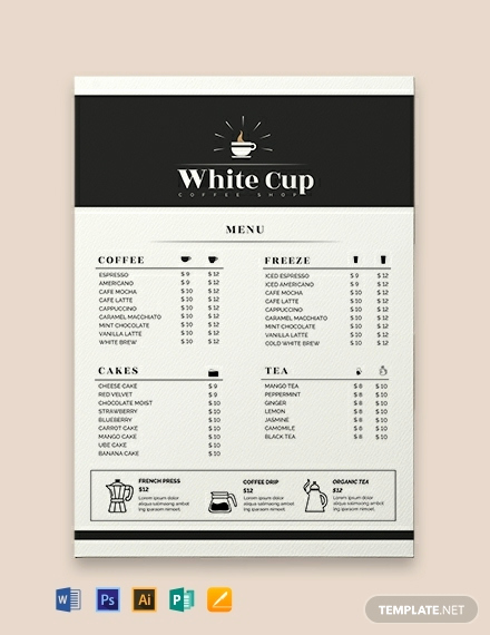 Free Menu Template Word Lovely 11 Drinks Menu Templates Illustrator Shop Ms Word