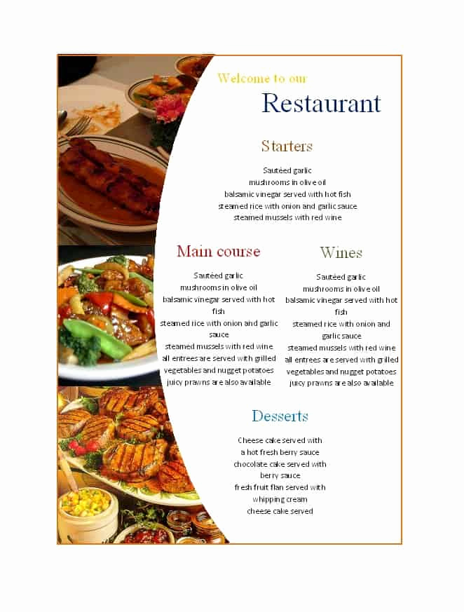 Free Menu Template Word New 21 Free Free Restaurant Menu Templates Word Excel formats