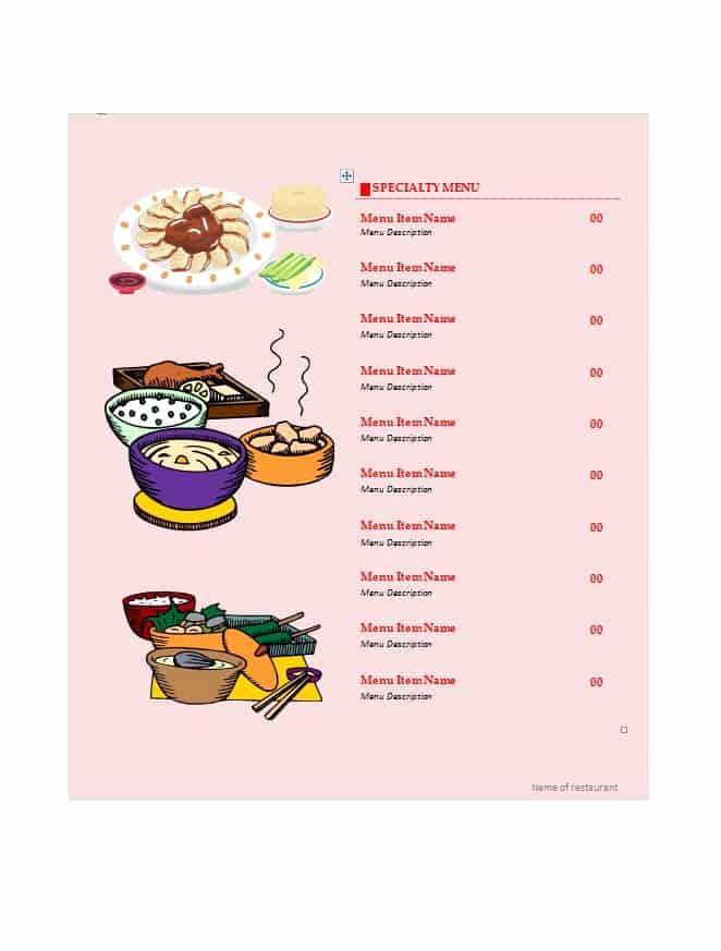 Free Menu Template Word Unique 21 Free Free Restaurant Menu Templates Word Excel formats