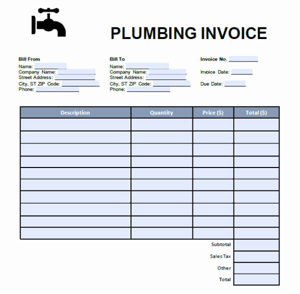 Free Plumbing Invoice Template Beautiful 8 Plumbing Invoices Free Word Pdf format Download