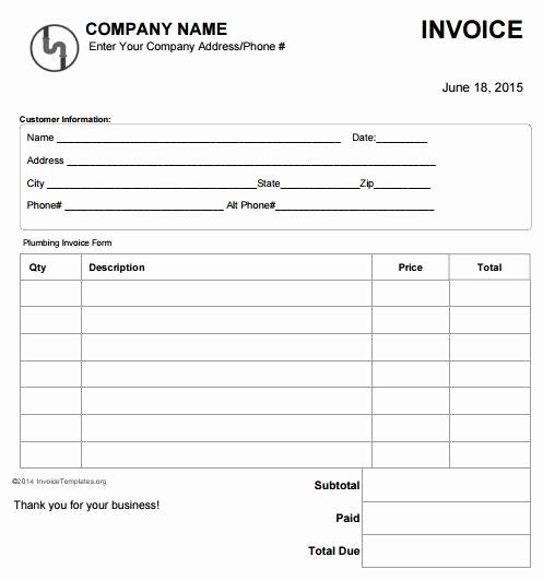 Free Plumbing Invoice Template Elegant Plumbing Invoice Template Free 4