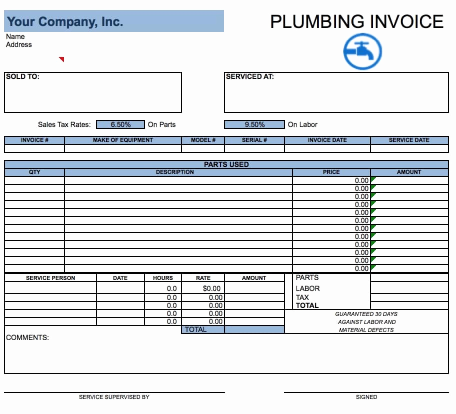 Free Plumbing Invoice Template Fresh Free Plumbing Invoice Template Pdf Word