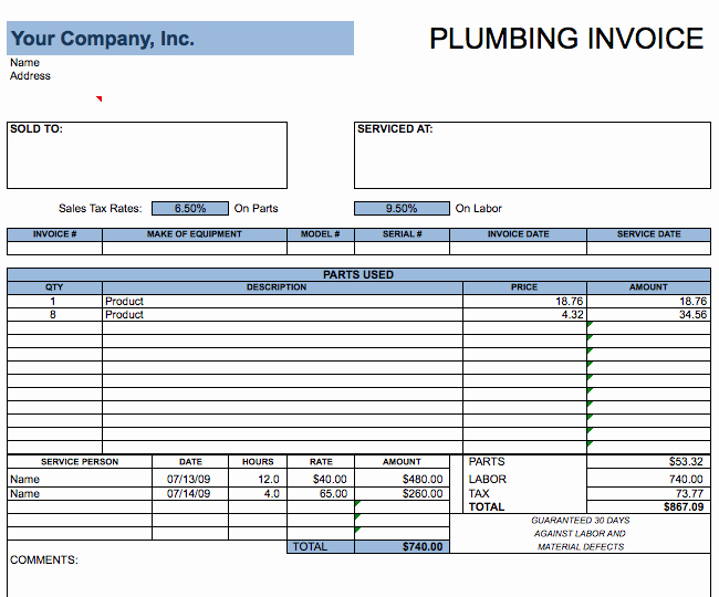 Free Plumbing Invoice Template Fresh Plumbing Invoice Template Free Invoice Templates