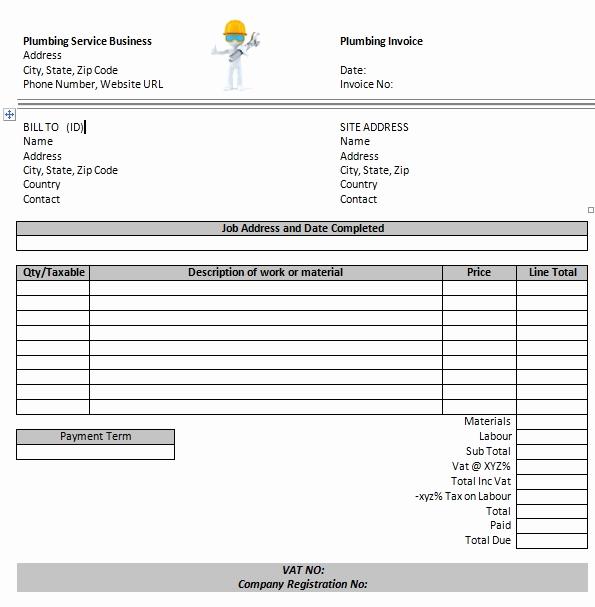 Free Plumbing Invoice Template Inspirational Plumbing Invoice Template Word