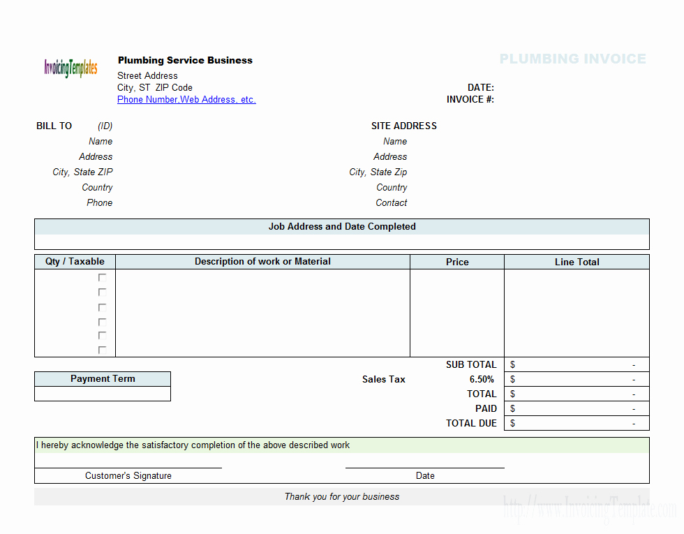 Free Plumbing Invoice Template Unique Landscaping Invoice Template