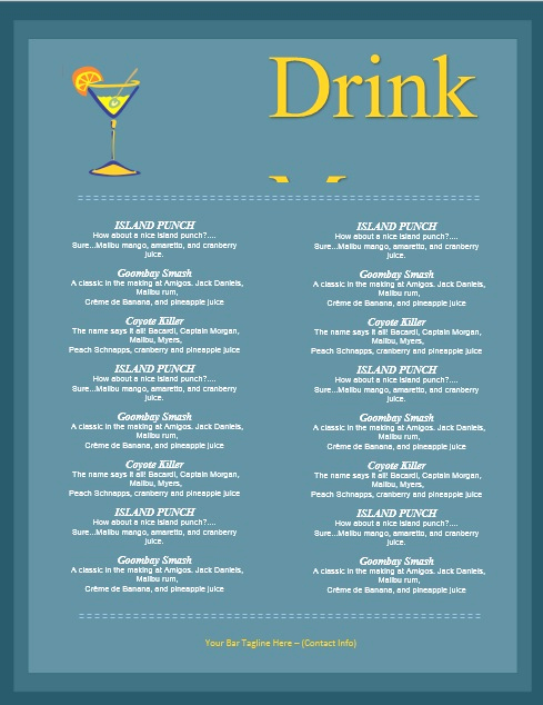 Free Printable Drink Menu Template Beautiful 5 Free Sample Bar Menu Templates Printable Samples