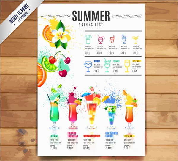Free Printable Drink Menu Template Elegant 21 Cocktail Menu Templates Free & Premium Download
