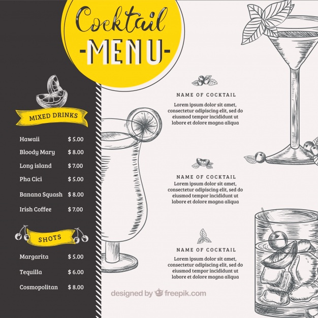 Free Printable Drink Menu Template Elegant Cocktail Menu Vectors S and Psd Files