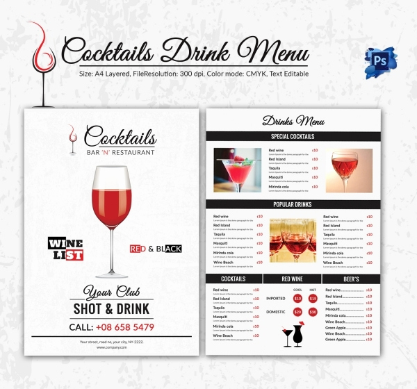 Free Printable Drink Menu Template Elegant Drink Menu Template – 25 Free Psd Eps Documents Download