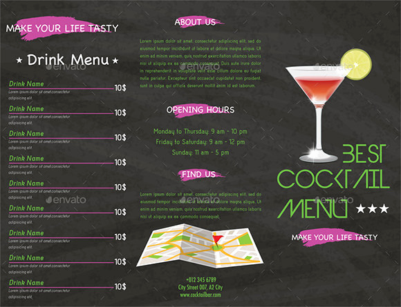 Free Printable Drink Menu Template Fresh Cocktail Menu Templates 59 Free Psd Eps Documents