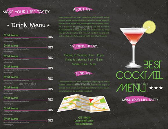 Free Printable Drink Menu Template Fresh Cocktail Menu Templates 59 Free Psd Eps Documents