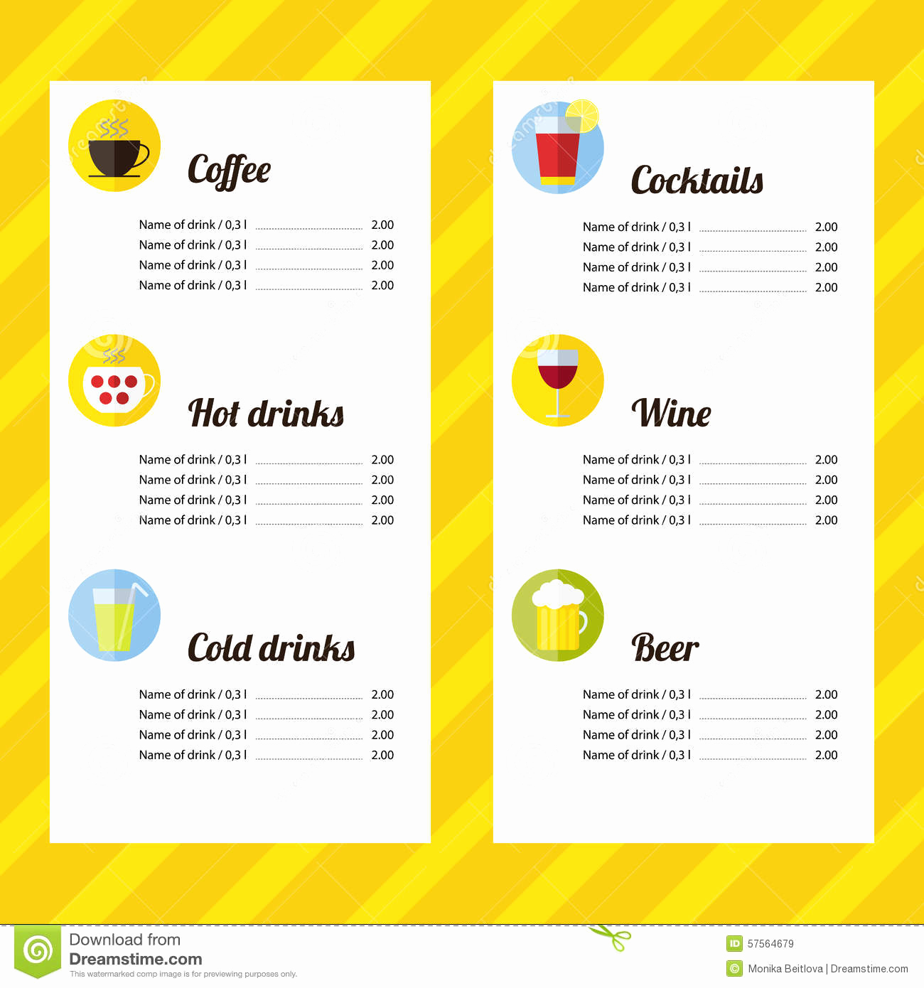 Free Printable Drink Menu Template Fresh Drink Menu Template Stock Vector Image