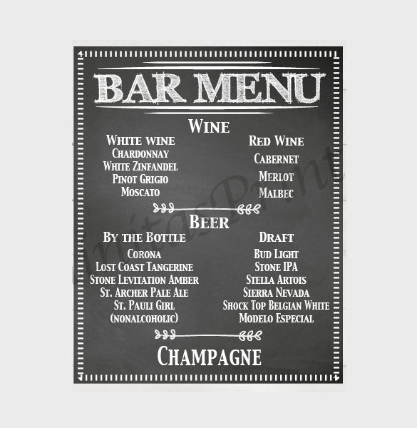 Free Printable Drink Menu Template Inspirational 24 Bar Menu Templates – Free Sample Example format