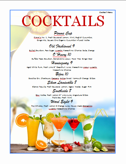 Free Printable Drink Menu Template Lovely Cocktail Menu Template Microsoft Word Templates