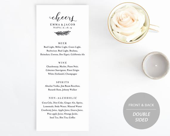 Free Printable Drink Menu Template Lovely Drink Menu Template Printable Wedding Drink Menu Alcohol
