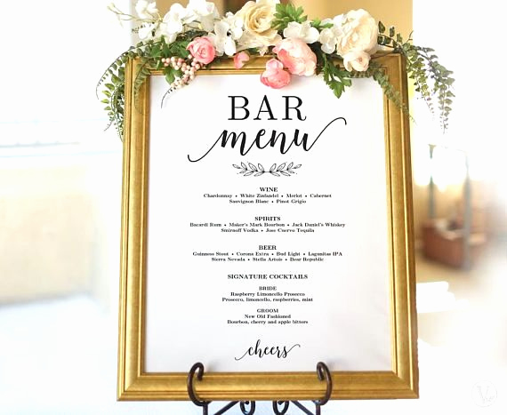 Free Printable Drink Menu Template Lovely Wedding Drinks Menu Sign Printable Wedding Bar Menu